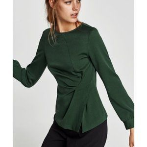 Zara emerald green blouse with side gathering
